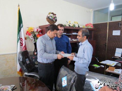 تجلیل فرماندار گالیکش از کارکنان به دلیل اجرای خوب برنامه های هفته دولت