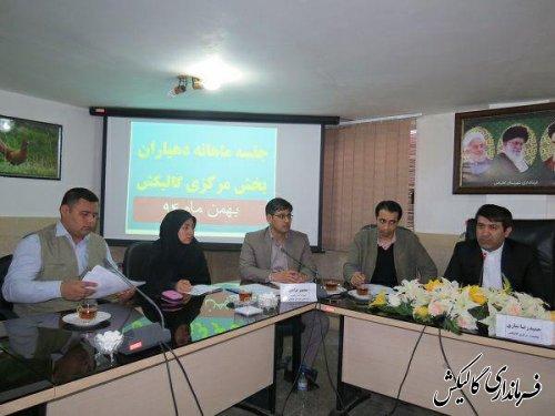 جلسه ماهانه دهیاران با بخشدار مرکزی گالیکش در روز سه شنبه 6/11/1394برگزار گردید