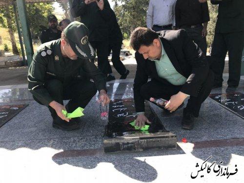 دیدار با دو جانباز جنگ تحمیلی /عطرافشانی گلزار شهدای شهرستان گالیکش