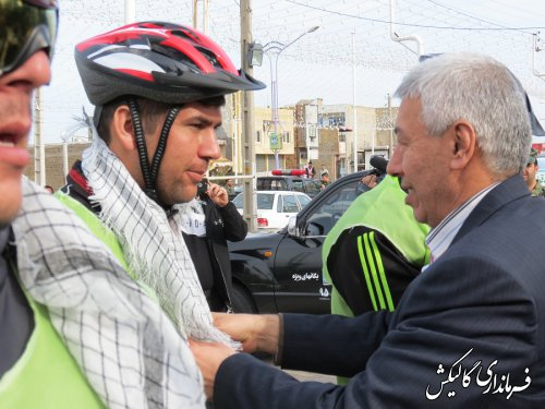 استقبال فرماندار و مسئولین شهرستان از دوچرخه سواران یگان ویژه ناجا