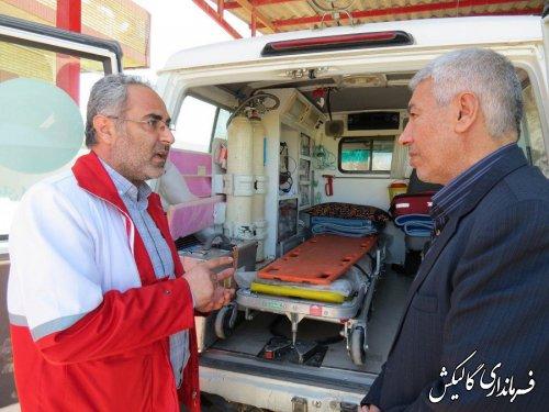 فرماندار گالیکش از دو  پایگاه ثابت امداد و  نجات هلال احمر در شهرستان بازدید کرد