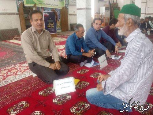 میز خدمت مسئولین در مسجد جامع گالیکش برگزار شد