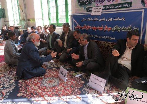 میز خدمت مسئولین در مسجد جامع شهر گالیکش برگزار شد