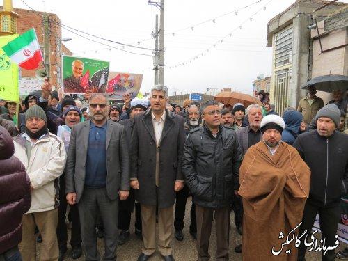 راهپیمایی باشکوه یومالله ۲۲بهمن در شهرستان گالیکش برگزار شد