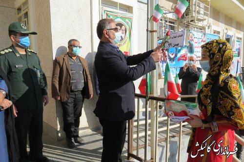 چهلودومین گلبانگ انقلاب شهرستان گالیکش در دبستان برکت شهر صادقآباد نواخته شد