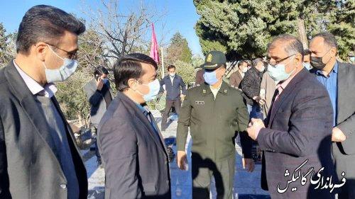 غبارروبی و عطرافشانی گلزار شهدای گالیکش باحضور مسئولین استانی و شهرستانی