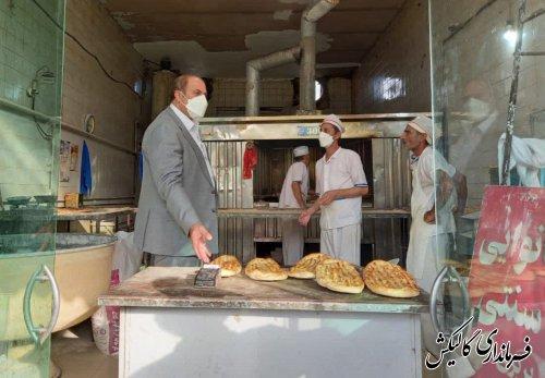بازدید معاون عمرانی فرماندار شهرستان از برخی نانواییهای سطح شهر گالیکش